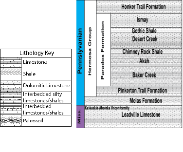 Figure 1. Stratigraphic column of the producing zones in the Aneth Field within the Paradox Basin, Utah. This project focuses on the Desert Creek limestone and Gothic Shale caprock