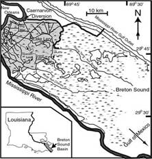Breton Sound Basin With Main Region of Estuary Influenced by Diversion Highlighted in Gray