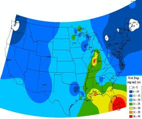 The Wet Deposition Flux of Mercury Over the United States in July 2001