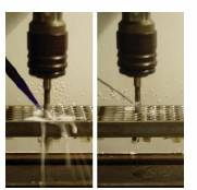 Thread Cutting Experiments Using MWF Microemulsion (Left) and scCO<sub>2</sub> (Right)