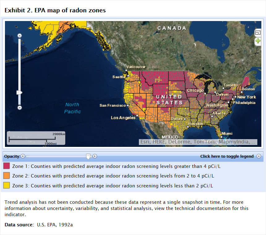 ROE Home Report On The Environment ROE US EPA - Radon gas map us