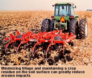 photo of a chisel plow maintaining crop residue in a field minimizing tillage and maintaining