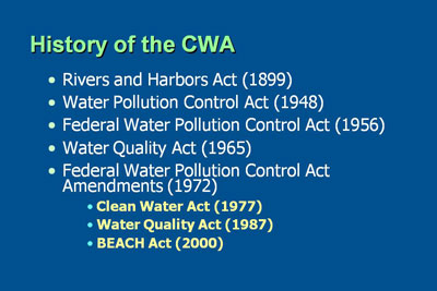the history and role of the clean water act The clean water act (cwa) is the primary federal law in the united states  governing water  this was repealed by the 1972 cwa, reducing the corps'  role in pollution control to the  clean water act section 319(h) grant funds  history.